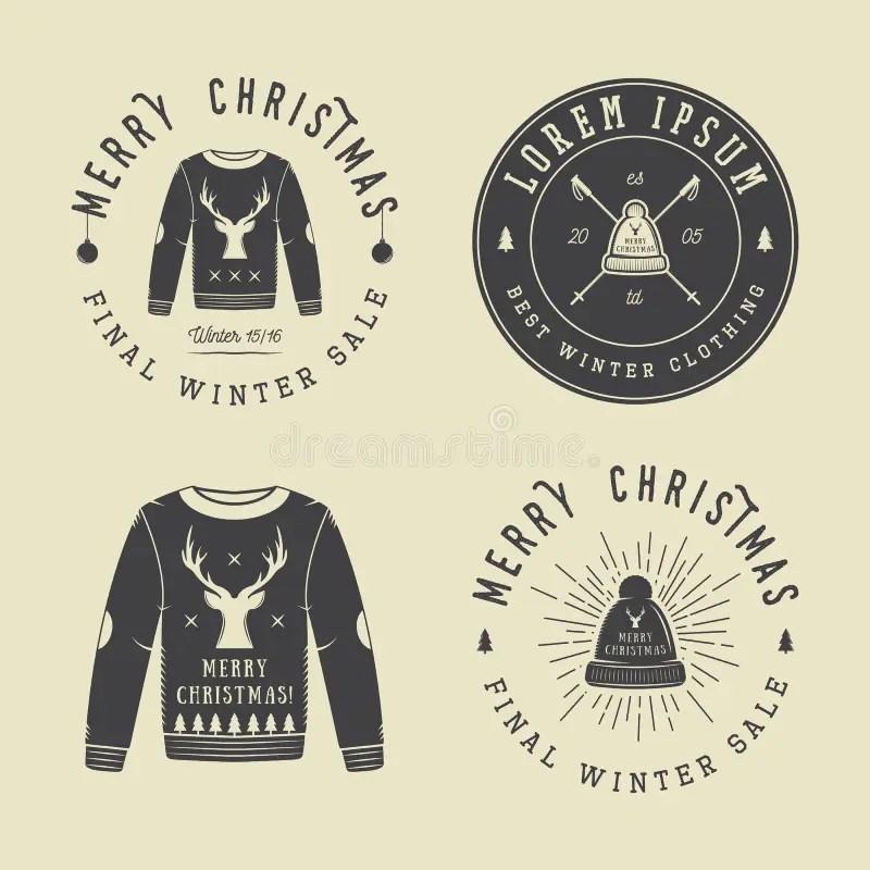 Vintage Merry Christmas Or Winter Clothing Shop Logo, Emblem Stock - watermark christmas
