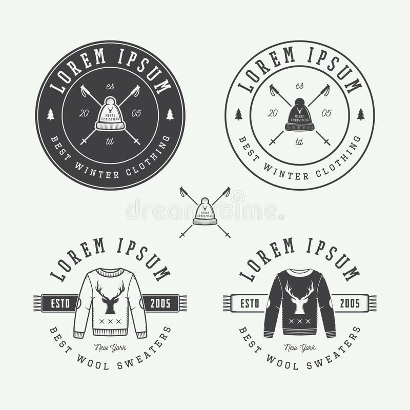 Vintage Merry Christmas Or Winter Sales Logo, Emblem, Badge Stock