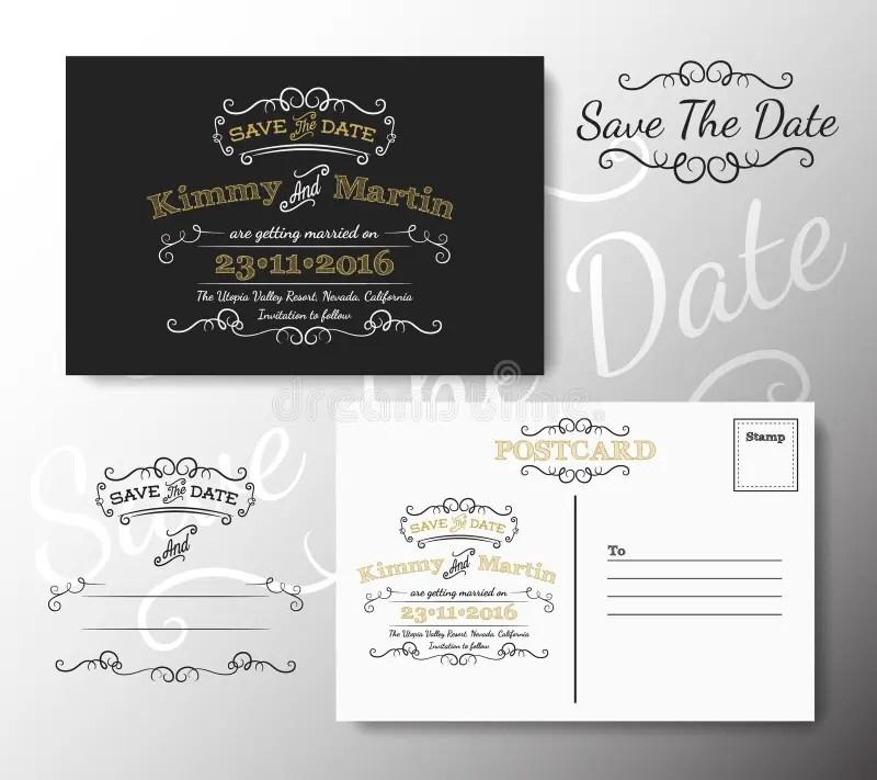 Vintage Modern Save The Date Postcard Chalkboard Style Design Stock - save date postcard