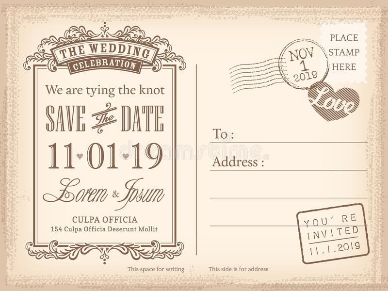 Vintage Postcard Save The Date Background For Wedding Invitation - save date postcard