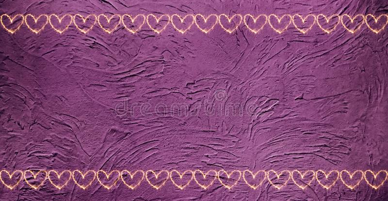 Vintage Purple Background With Borders Of Hearts Stock Image