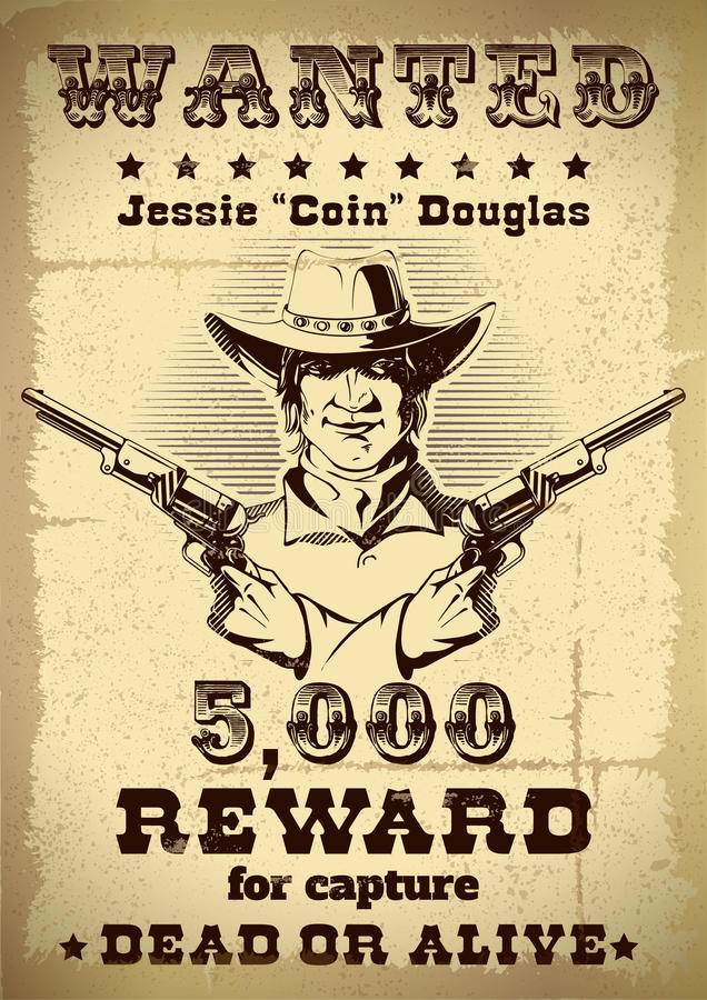 Vintage Wanted Poster stock vector Illustration of sheriff - 71905566 - criminal wanted poster