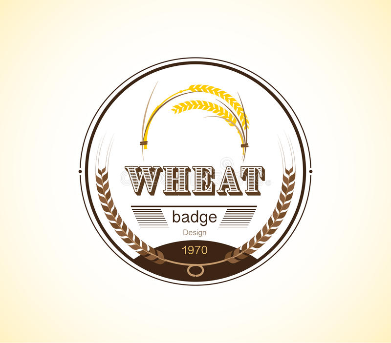 Vintage Wheat Ear Badge Design Template Vector Illustration Stock - wheat template