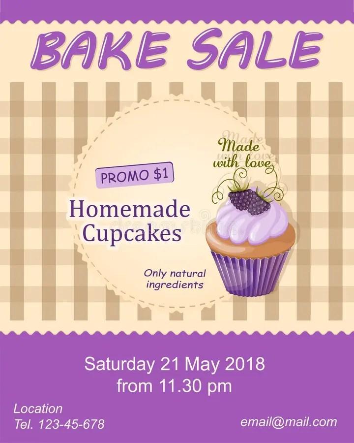 Violet Bake Sale Promotion Flyer With Cupcake Stock Illustration