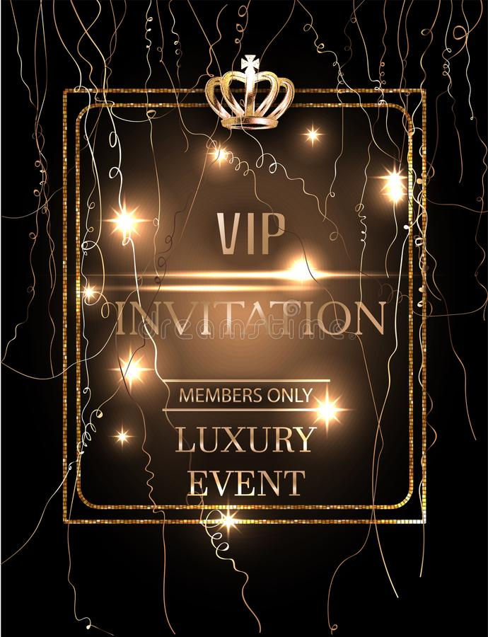 VIP Event Invitation Card With Gold Serpentine, Crown And Frame - invitation card event