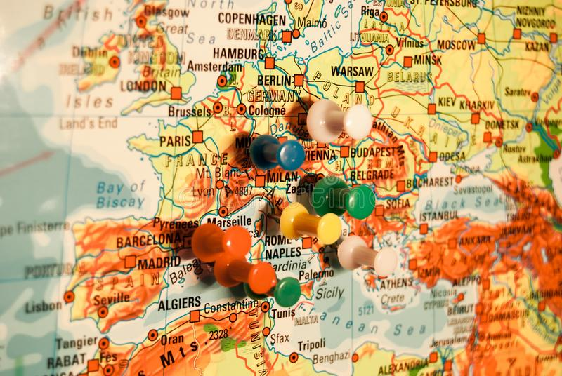 Push Pins On A Geographical Map Stock Photo - Image of desire - pins on a map