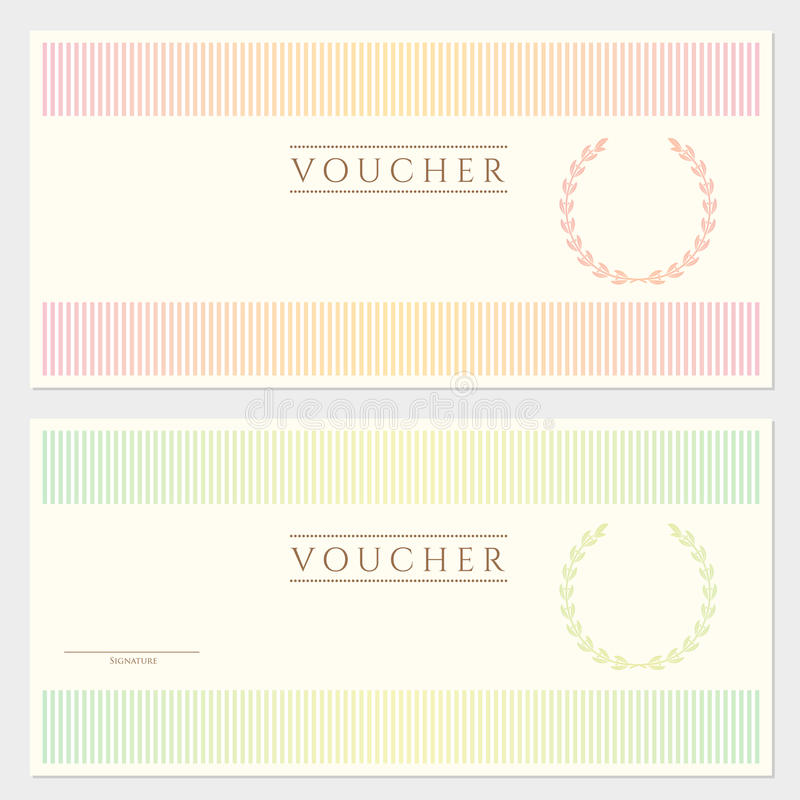 Voucher (coupon) Template With Stripy Pattern Stock Vector