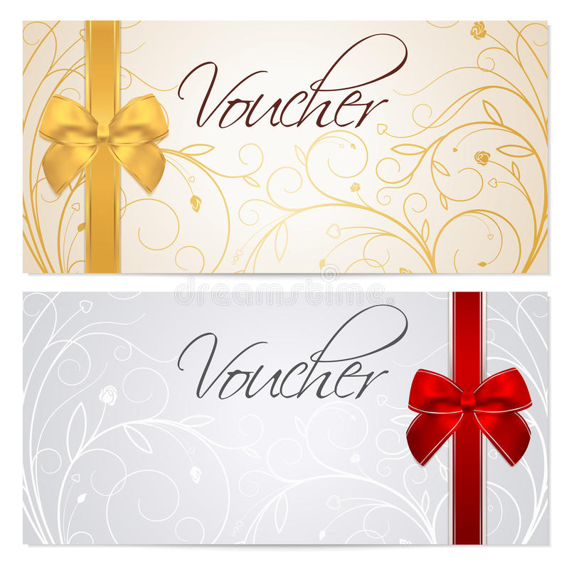 Voucher (Gift Certificate, Coupon) Template Red B Stock Vector - download gift certificate template
