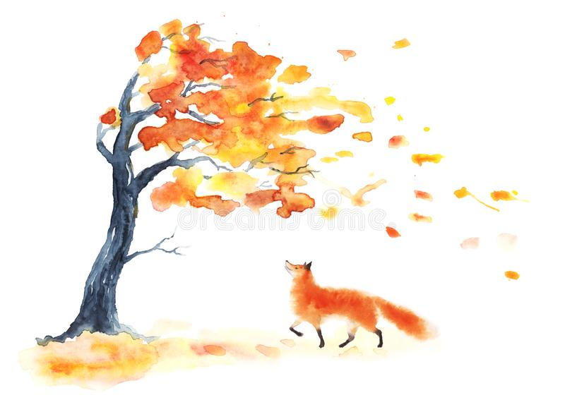 Cool Animal Print Wallpaper Watercolor Autumn Tree With Yellow And Orange Leaves And