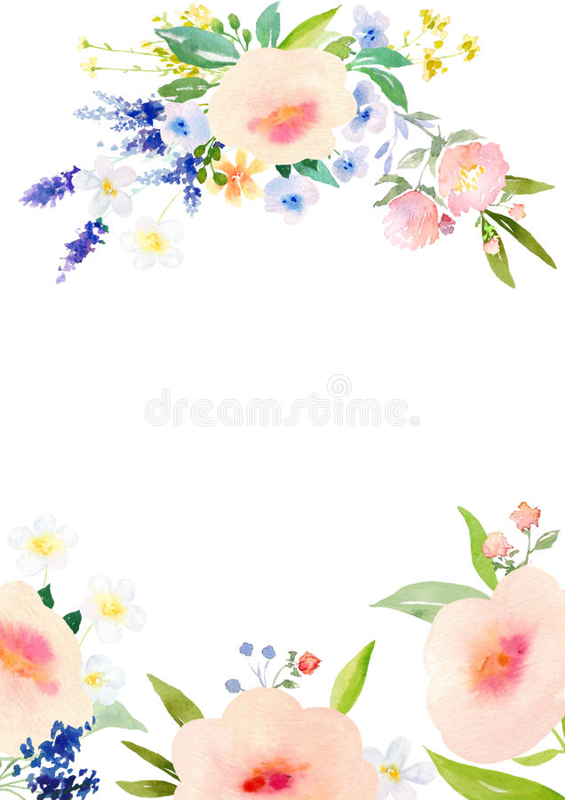 Watercolor Flowers Card Template Stock Illustration - Illustration - template for cards