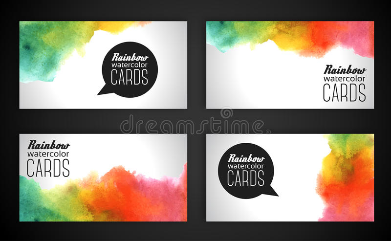 Watercolor Rainbow Business Cards Stock Vector - Illustration of