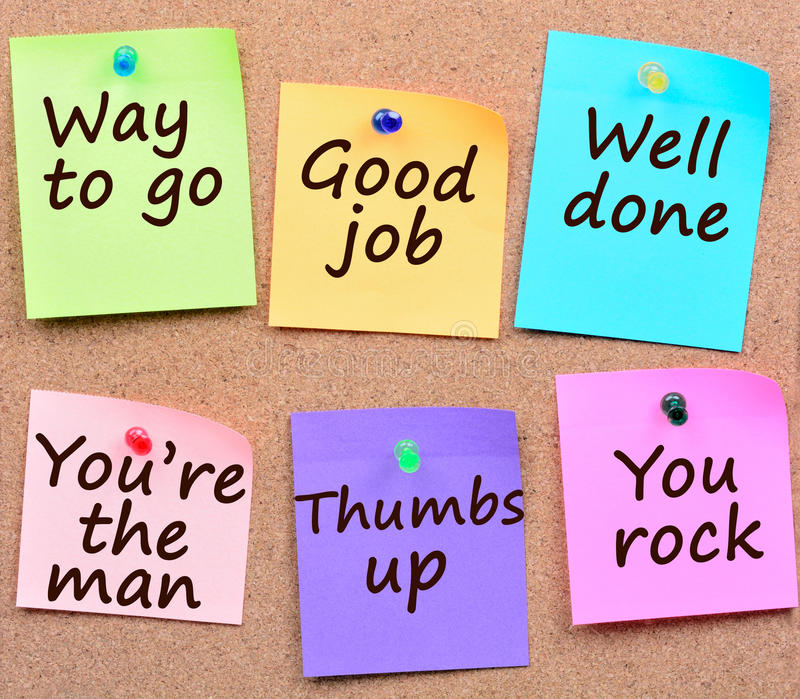 Way To Go,Good Job,Well Done Words On Notes Stock Image - Image of