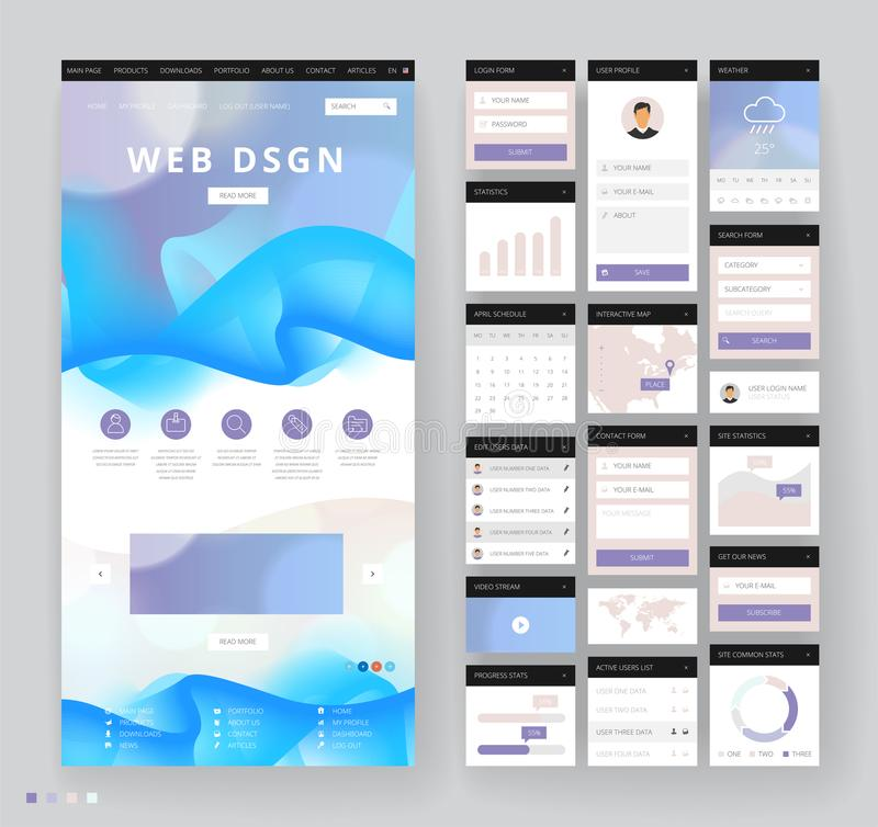 Website Template Design With Interface Elements Stock Vector - interactive website template