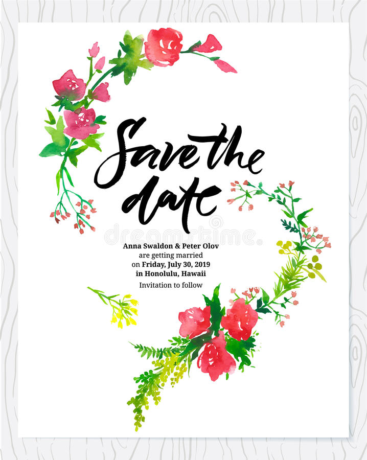 Wedding Floral Watercolor Card Save The Date Stock Vector - Save The Date Wedding Templates