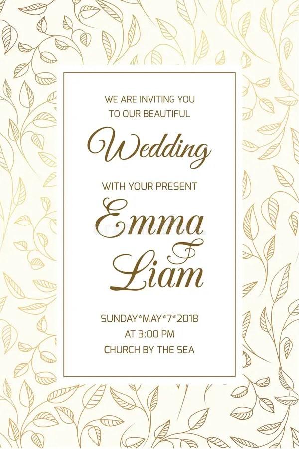 Wedding Invitation Card Template Swirl Leaves Gold Stock Vector
