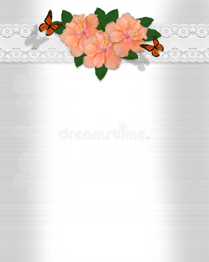 illustration of wedding invitation hibiscus lace