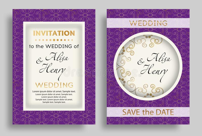 Wedding Invitation Purple Template Set Elegant Background With - wedding template
