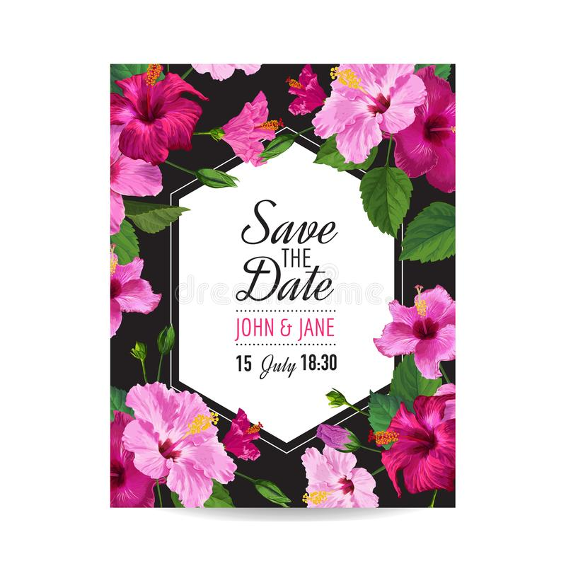 Wedding Invitation Template With Purple Hibiscus Flowers Save The - save the date birthday template