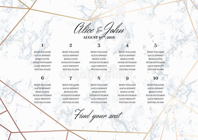Wedding Seating Chart Poster Template Stock Vector - Illustration