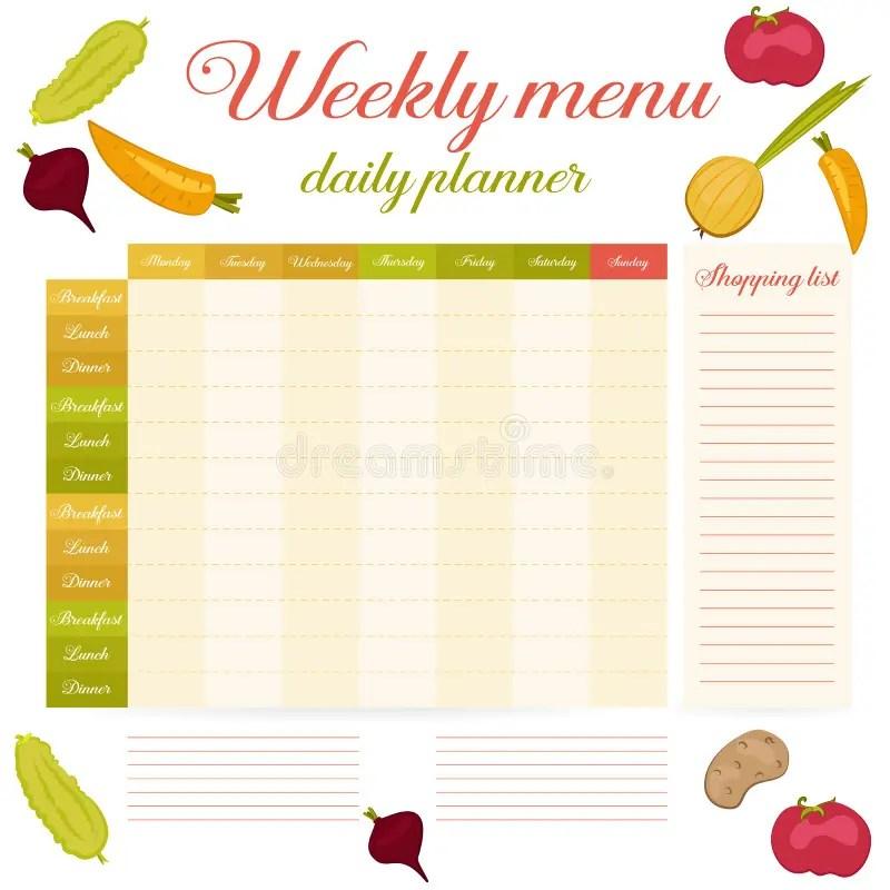 Weekly Menu Cute Vintage Daily Planner Stock Vector - Illustration