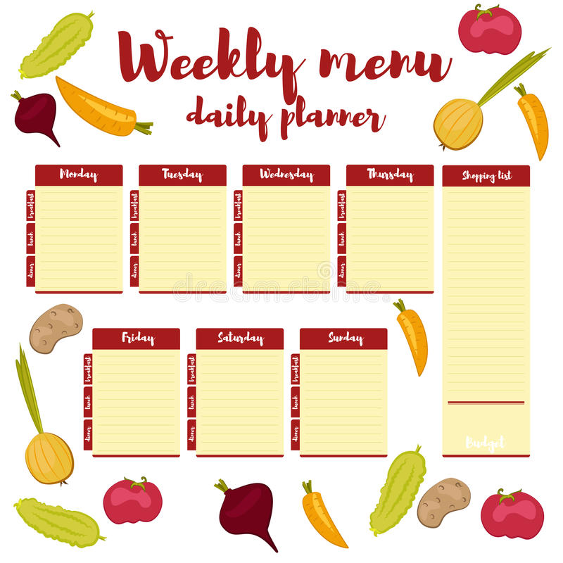 Weekly Menu Daily Red Planner Stock Vector - Illustration of lunch