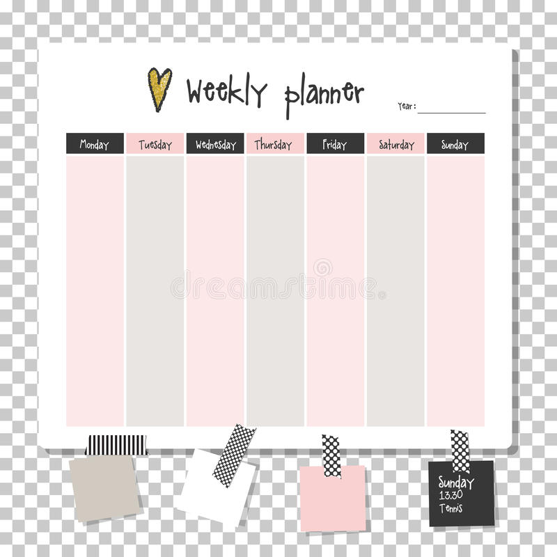 Weekly Planner Note Paper Stock Illustration - Illustration of - note paper template