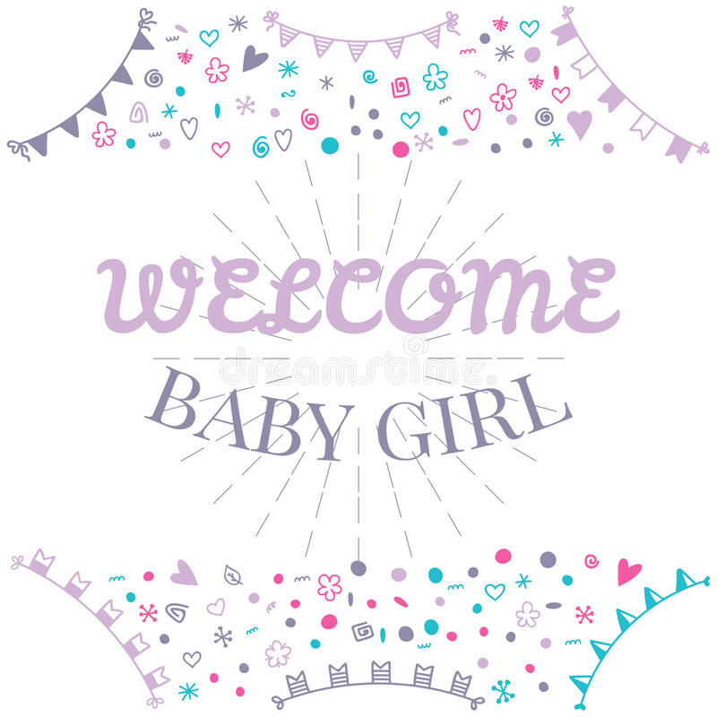Welcome Baby Girl Baby Shower Greeting Card Cute Baby Girl Sho