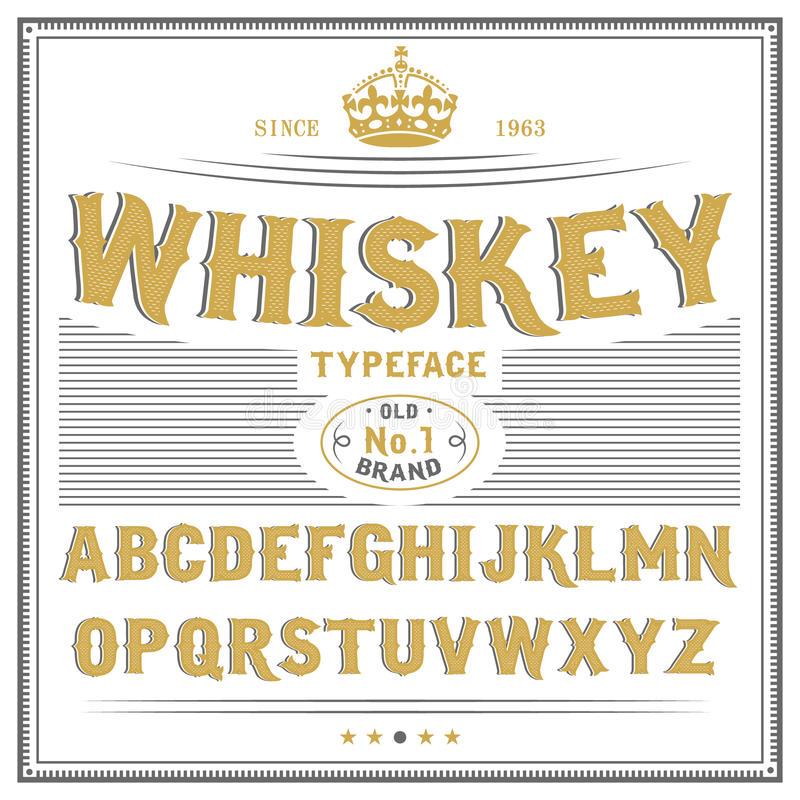 Whiskey Label Font And Sample Label Design Vintage Looking Typeface