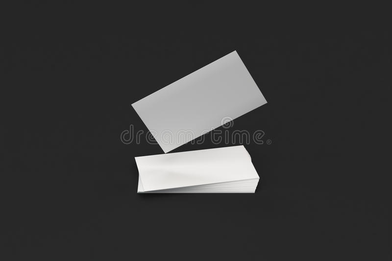 White Blank Business Cards Mock-up On Black Background Stock