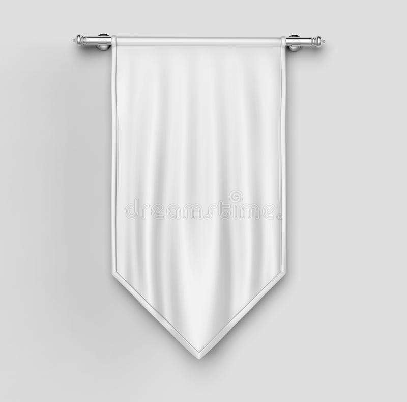 White Blank Vertical Flag Banner Mock Up Template 3d Illustration