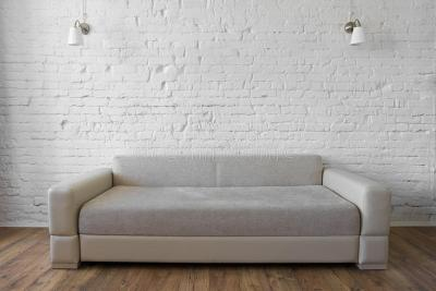 White Brick Wall Wooden Floor Beige Sofa Loft Stock Photo - Image of room, wall: 67884332