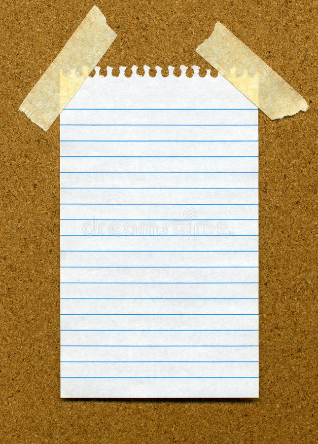 White Lined Blank Paper On A Noticeboar Stock Photos - Image 7979873