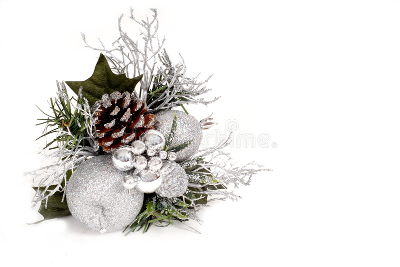 white silver and green christmas ornament with pine cone