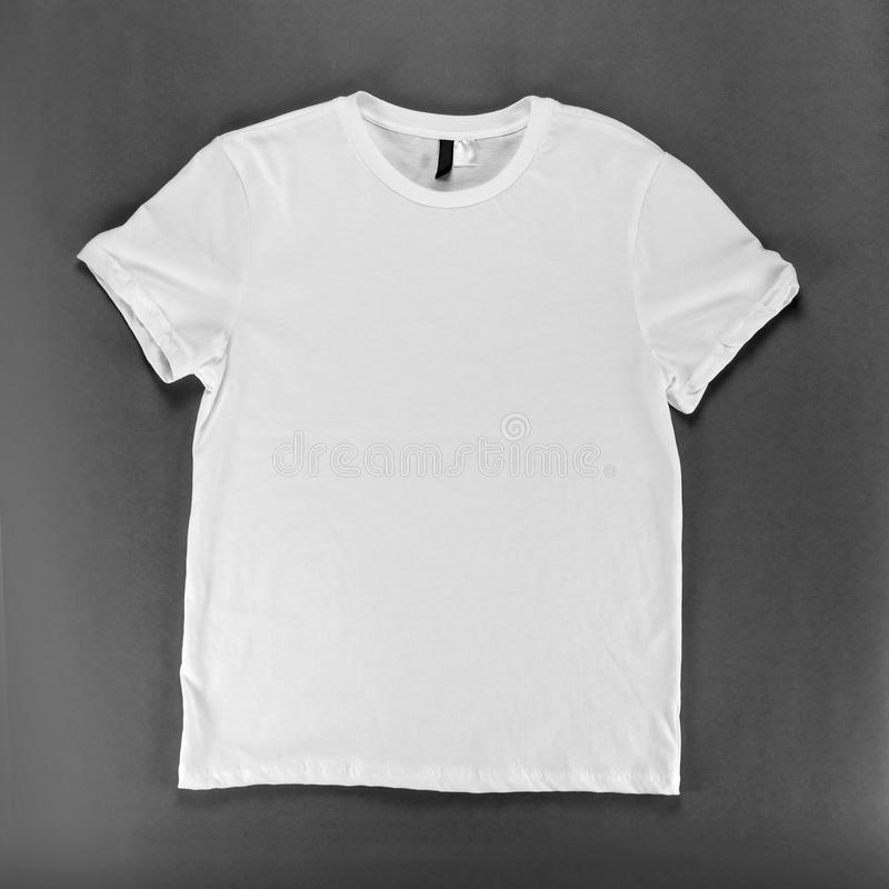 White T-shirt Template On A Gray Background Stock Image - Image of
