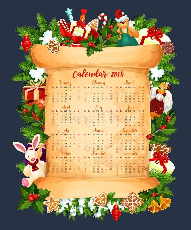 Winter Holiday 2018 Calendar Vector Template Stock Vector - holiday calendar template
