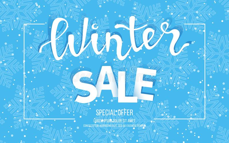 Winter Sale Banner, Poster, Flyer Template In Frame With Blue