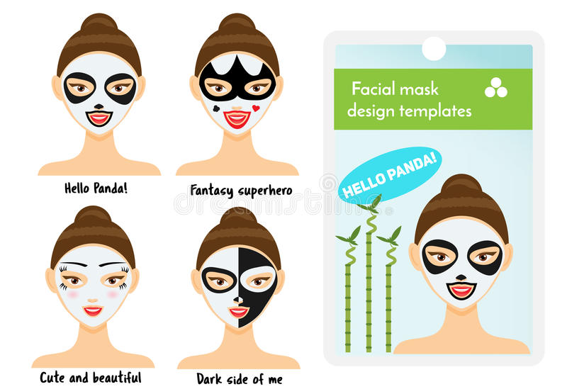 Woman Facial Sheet Masks Design Templates Package Sample With Cute