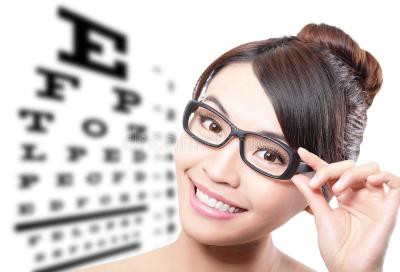 Woman With Glasses And Eye Test Chart Stock Image - Image: 30680371