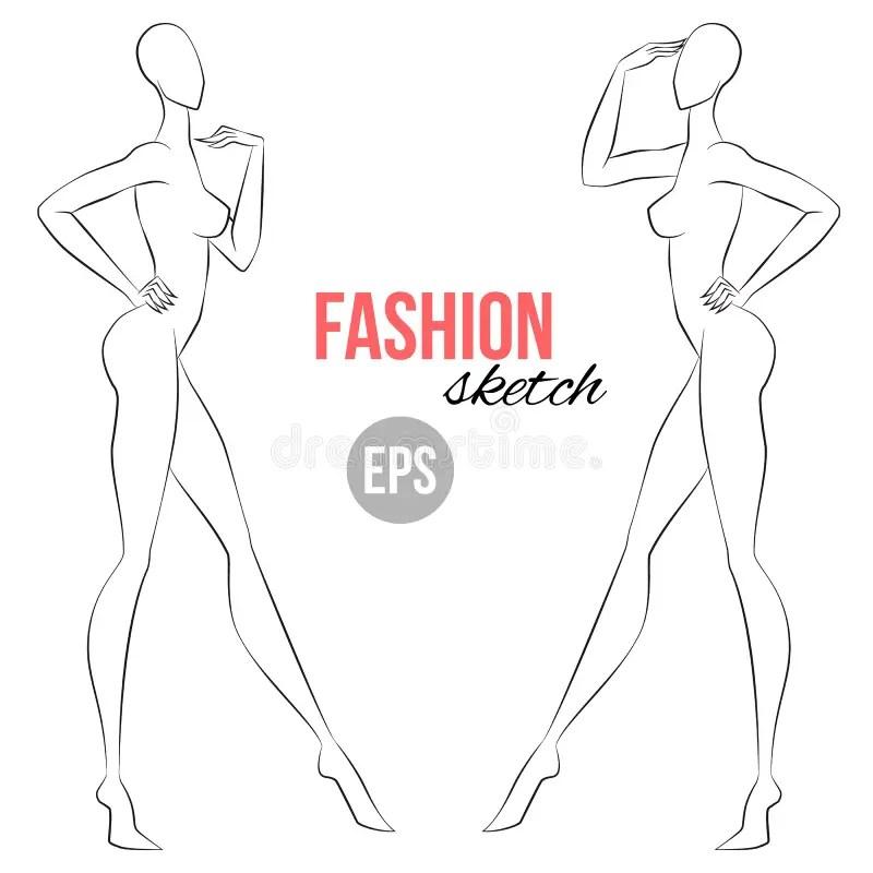 Women`s Figure Sketch Half-face Wiev Vector Outline Girl Model - model template