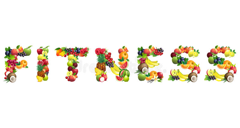 Word FITNESS Composed Of Different Fruits With Leaves Stock