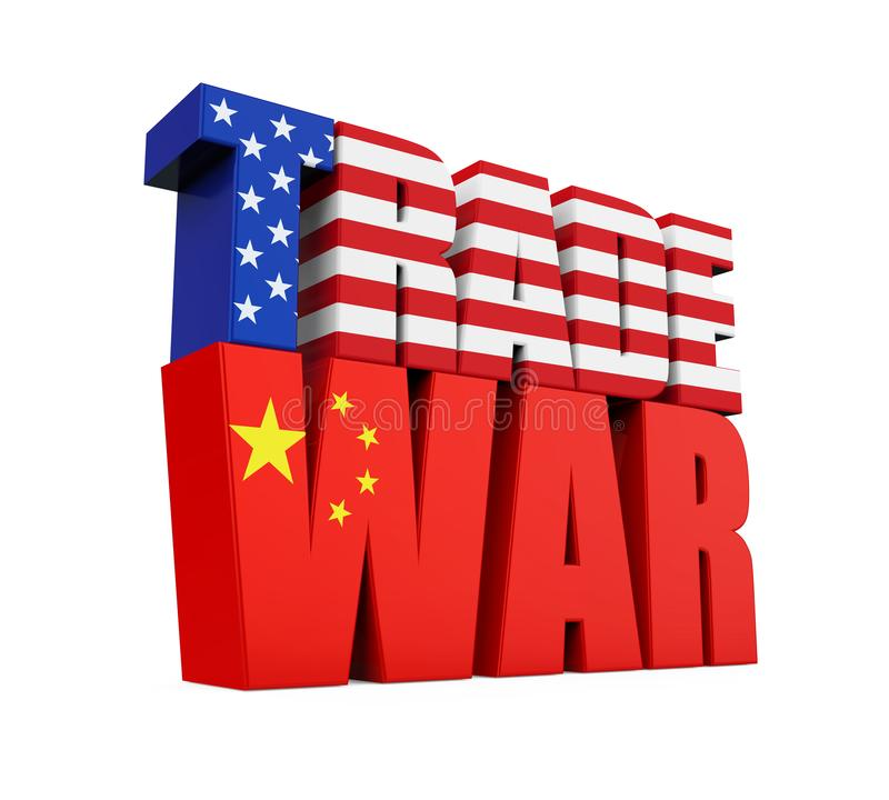 Word `TRADE WAR` With United States And Chinese Flag Isolated Stock - word flag
