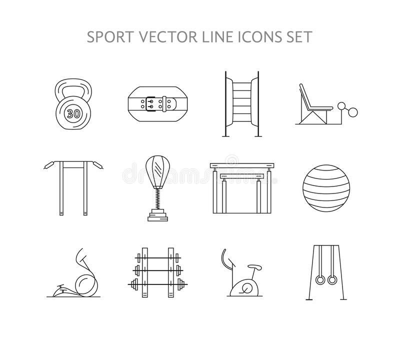 Workout And Gym Training Icons Set Stock Vector - Illustration of - gym workout for weight loss