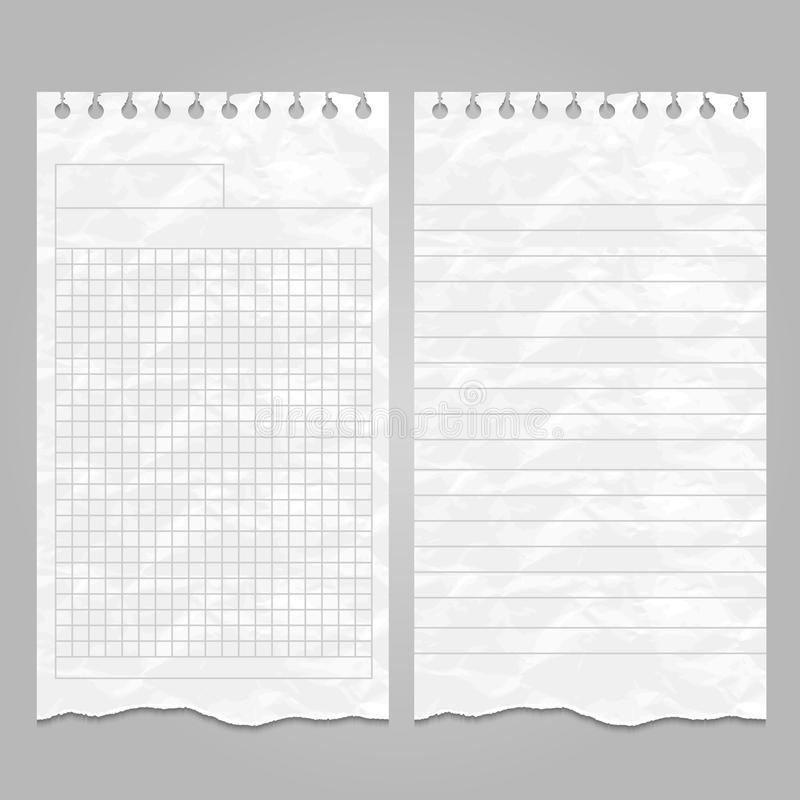 Wrinkled Ripped Lined Page Templates For Notes Or Memo Stock Vector - lined page