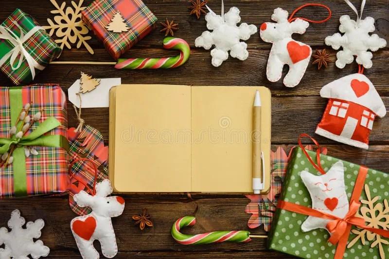 Writing Christmas Wish List, Shopping List On Paper Top View Stock - christmas wish list paper