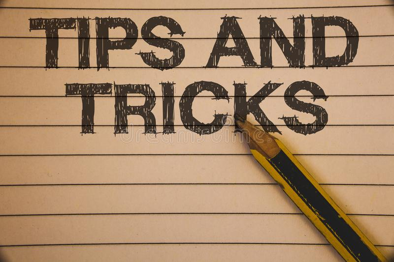 Writing Note Showing Tips And Tricks Business Photo Showcasing