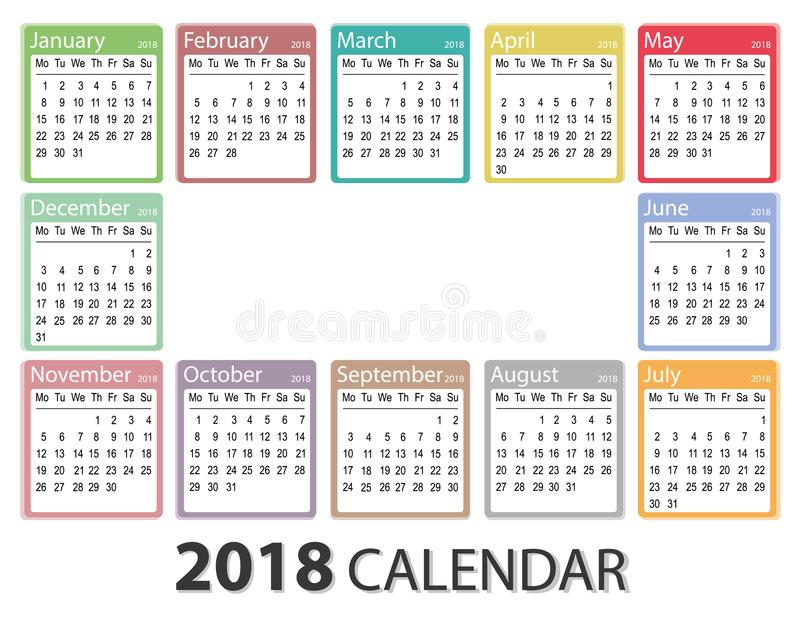 2018 Year Calendar, Week Starts On Monday, Monthly Calendar Template - printable calendar template