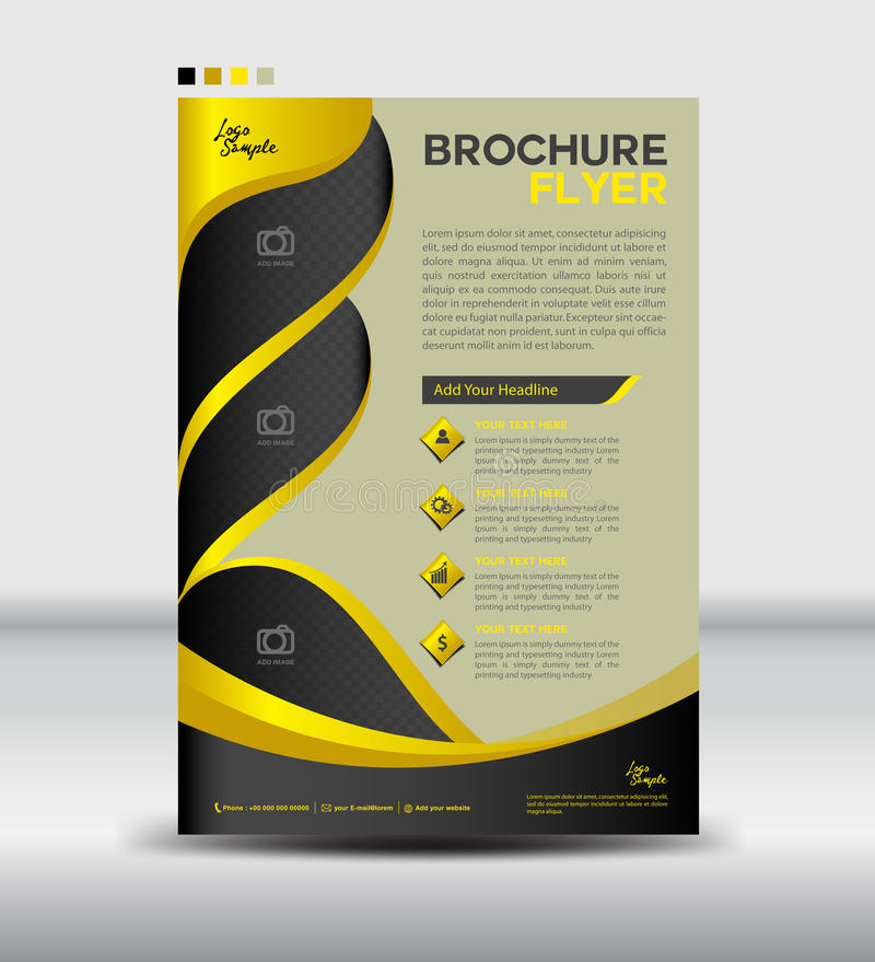 Yellow And Black Brochure Flyer Template,newsletter Design, Leaf - black flyer template