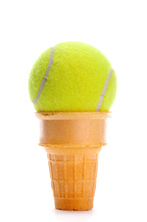 A Yellow Tennis Ball In An Ice Cream Cone Stock Image - Image of