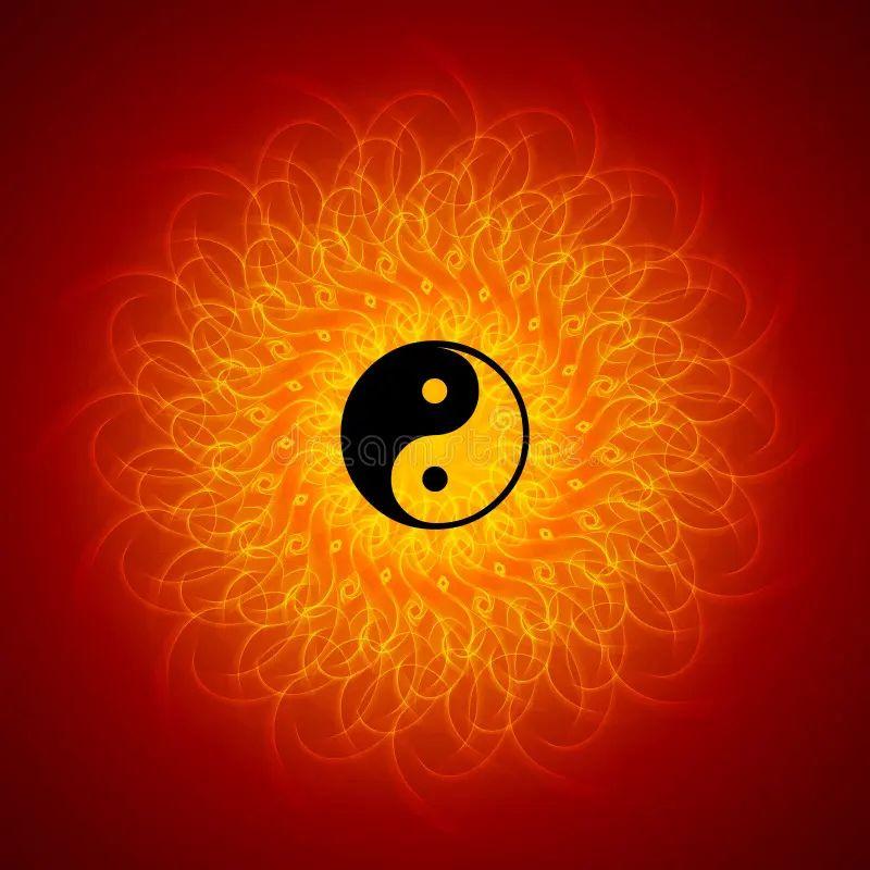 Yin yang on mandala background stock photo image 15517080