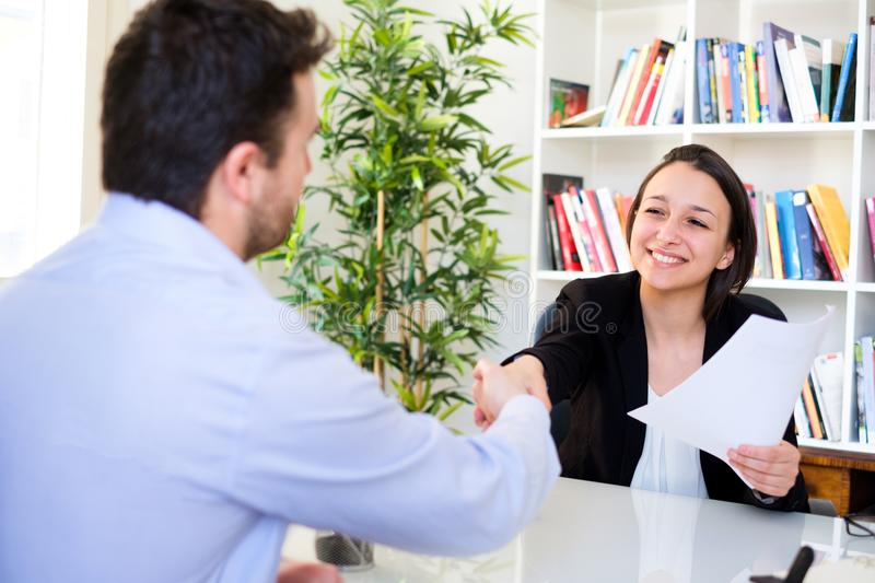 Handshake After Successful Job Interview And Cv Stock Image - Image